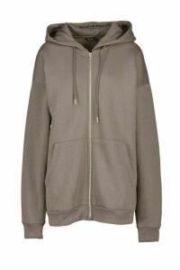 Womens Oversized Zip Through Hoody - grey - M, Grey