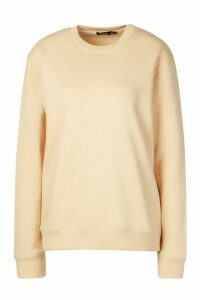 Fleece Oversized Crew Neck Sweat - beige - 16, Beige
