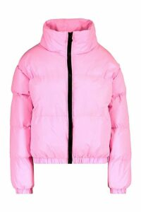 Womens Reflective Funnel Neck Padded Jacket - Pink - 14, Pink