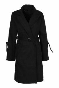 Womens D-Ring Detail Tailored Wool Look Coat - black - 16, Black