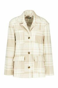 Womens Tonal Check Pocket Wool Look Shirt Jacket - beige - 16, Beige
