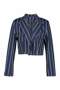Womens Cropped Power Shoulder Pinstripe Blazer - navy - 16, Navy