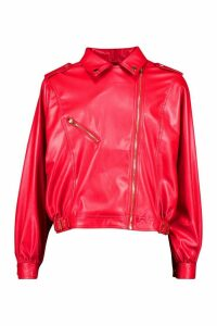 Womens Oversized PU 80's Jacket - red - 14, Red