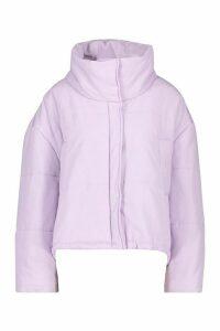 Womens Oversized Puffer Jacket - Purple - 14, Purple