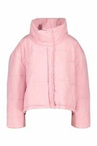 Womens Oversized Puffer Jacket - Pink - 12, Pink
