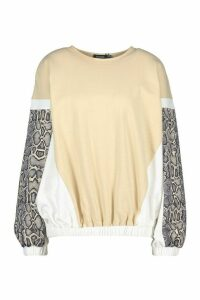 Womens Colour Block Snake Print Sweatshirt - beige - 12, Beige