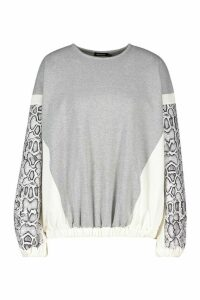 Womens Colour Block Snake Print Sweatshirt - grey - 14, Grey