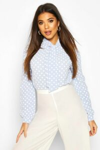 Womens Pussy Bow Polka Dot High Neck Blouse - blue - 14, Blue