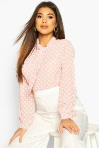 Womens Pussy Bow Polka Dot High Neck Blouse - pastel pink - 10, Pastel Pink