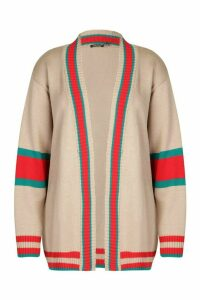 Womens Plus Contrast Stripe Oversized Cardigan - beige - 20, Beige