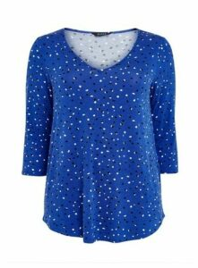 Blue Abstract Spot Print Top, Mid Blue