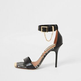 River Island Womens Black barely there high heeled sandals