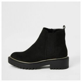 River Island Womens Black suedette chunky ankle boots