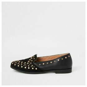 River Island Womens Black studded loafers