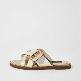 River Island Womens Cream buckle studded strap wide fit sandals