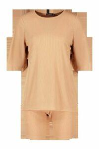 Womens Oversized T-Shirt & Cycling Short Co-Ord Set - Orange - 12, Orange