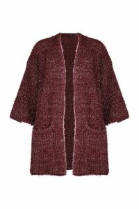 Womens Metallic Tinsel Knit Oversized Cardigan - red - M, Red