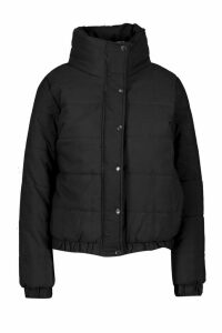 Womens Crop Funnel Neck Padded Jacket - black - 10, Black