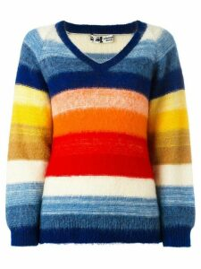 Kansai Yamamoto Pre-Owned contrast stripe V-neck jumper - Multicolour