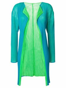 Issey Miyake Pre-Owned pleated mesh cardigan - Blue