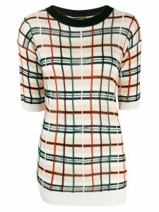Jean Paul Gaultier Pre-Owned checked knitted top - NEUTRALS
