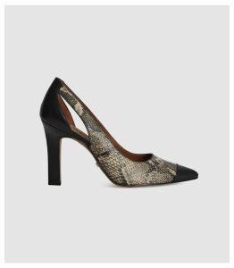 Reiss Samara - Leather Point Toe Court Shoes in Snake, Womens, Size 8