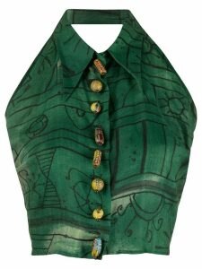 Romeo Gigli Pre-Owned 1990s abstract print lace-up top - Green