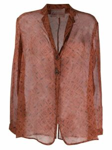 Romeo Gigli Pre-Owned 1990s sheer floral shirt - Brown