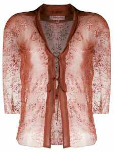 Romeo Gigli Pre-Owned 1990s sheer lace-up blouse - Brown