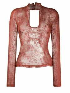 Romeo Gigli Pre-Owned 1990s lace-up sheer blouse - Red