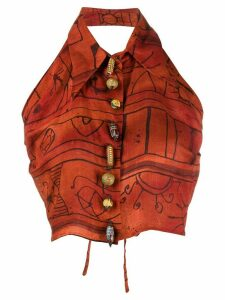 Romeo Gigli Pre-Owned 1990s linen patterned top - Red