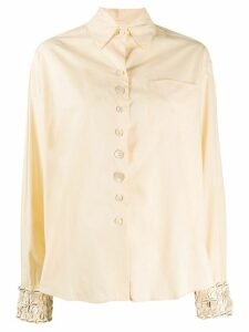 Romeo Gigli Pre-Owned 1990s cowry embroidery shirt - Yellow