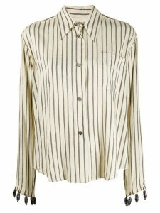 Romeo Gigli Pre-Owned 1990s beaded cuffs striped shirt - NEUTRALS