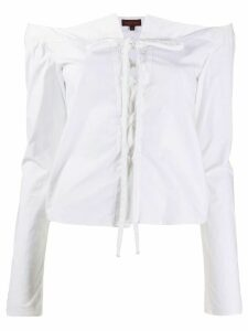 Romeo Gigli Pre-Owned 1990s off-the-shoulders lace-up blouse - White