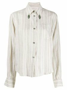 Romeo Gigli Pre-Owned 1990s bead details striped shirt - NEUTRALS