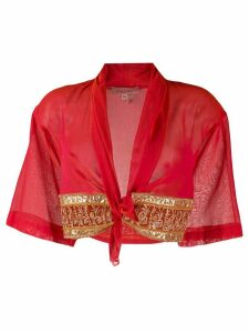 Romeo Gigli Pre-Owned gold-toned detail cropped top - Red