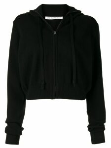 Live The Process cropped zipped hoodie - Black