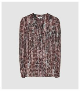 Reiss Peyton - Printed Blouse in Berry, Womens, Size 16