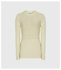 Reiss Jenna - Chunky Ribbed Jumper in Cream, Womens, Size XL