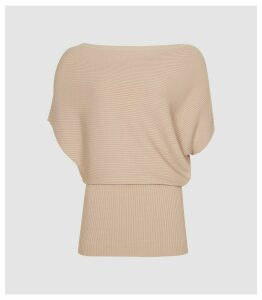 Reiss Meryl - Asymmetric Knitted Top in Blush, Womens, Size XL