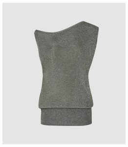 Reiss Brigette - Draped Knitted Tank Top in Charcoal, Womens, Size XL