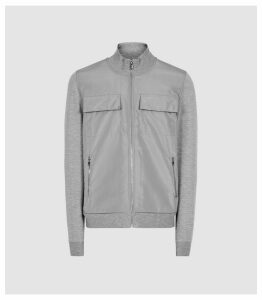 Reiss Shelby - Hybrid Zip Through Funnel Neck Jumper in Grey, Mens, Size XXL