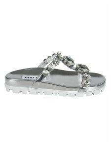 Miu Miu Diamond Embellished Sandals