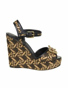Dolce & Gabbana Wedge In Raffia Ecru / Black Color