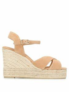 Castañer crossed-strap wedge sandals - NEUTRALS