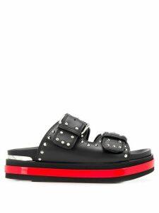 Alexander McQueen Trompe L'oeil studded slide sandals - Black