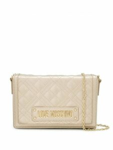 Love Moschino logo quilted crossbody bag - GOLD