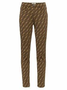 Fendi FF logo print trousers - Brown