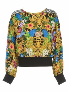 Versace Jeans Couture Sweatshirt W/net On Shoulder And Baroque Fantasy