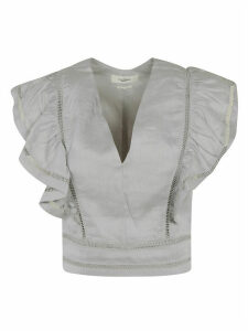 Isabel Marant Cropped Ruffled Sleeve Top